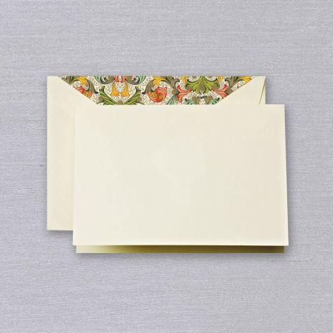 Crane Paper Ecru Boxed Notes with Red Florentine Envelope Liner