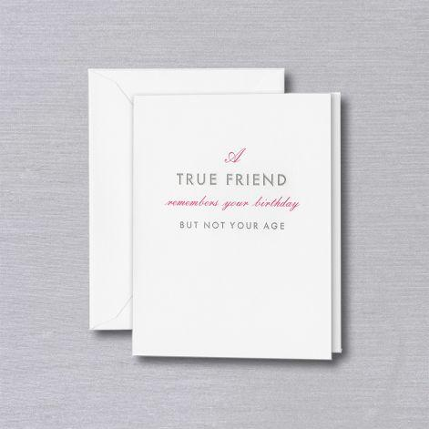 Engraved A True Friend Birthday Pearl White Greeting Card