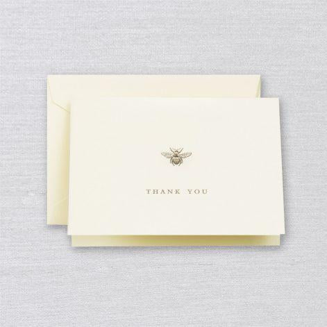 Crane Paper Engraved Bee Thank You Ecru Boxed Notes