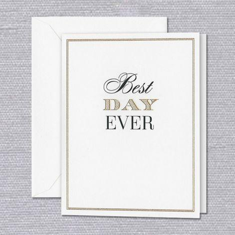 Crane Paper Engraved Best Day Ever Birthday Pearl White Greeting Card