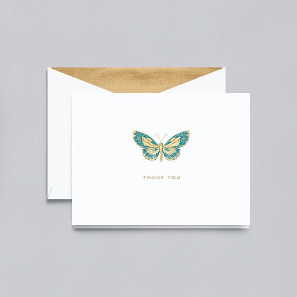 Engraved Butterfly Thank You Pearl White Boxed Notes