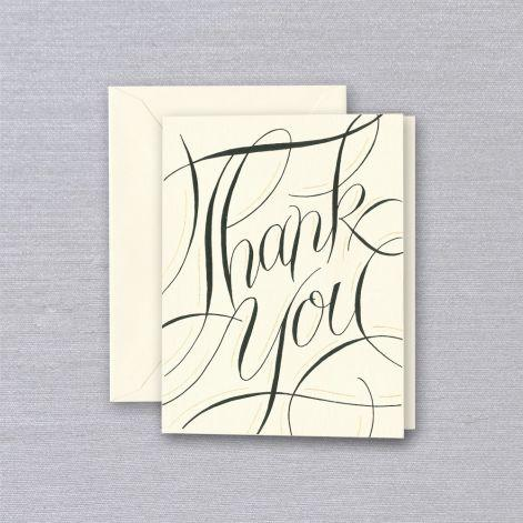 Crane Paper Engraved Calligraphy Ecru Thank You Geeting Card