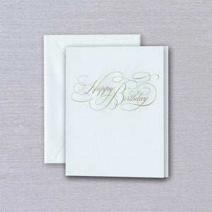 Engraved Calligraphy Happy Birthday Beach Glass Greeting Card