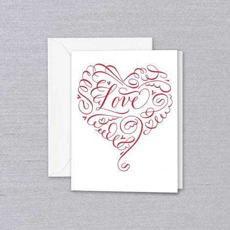 Engraved Calligraphy Love Heart Pearl White Blank Greeting Card