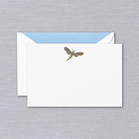 Engraved Dragonfly Pearl White Boxed Cards