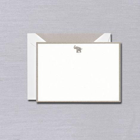 Crane Paper Engraved Elephant Bordered Boxed Cards