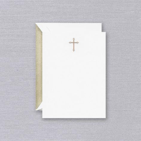 Engraved Gold Cross Pearl White Imprintable Invitation Cards