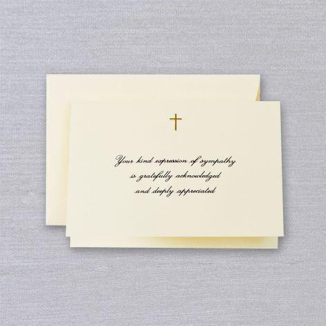 Crane Paper Engraved Gold Cross Sympathy Acknowledgement Ecru Boxed Notes