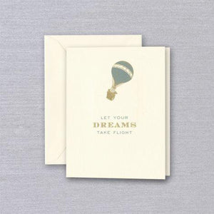 Crane Paper Engraved Hotair Balloon Dreams Take Flight Ecru Birthday Greeting Card