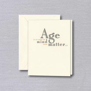 Crane Paper Engraved Mind Over Matter Birthday Ecru Greeting Card
