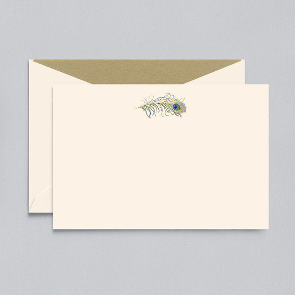 Engraved Peacock Ecru Boxed Cards