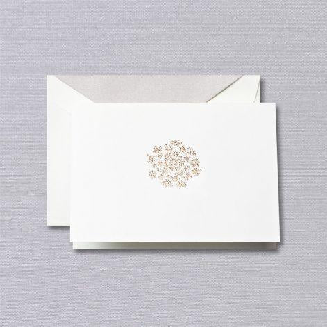 Crane Paper Engraved Queen Anne's Lace Pearl White Boxed Notes