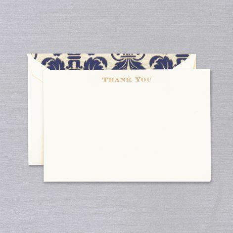 Engraved Thank You Pearl White Boxed Cards with Regency Envelope Liner
