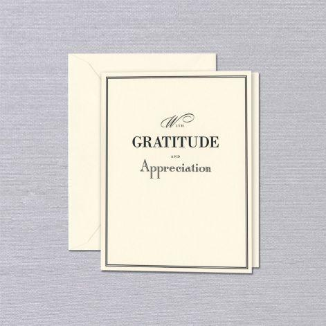 Crane Paper Engraved With Gratitude Ecru Thank You Greeting Card
