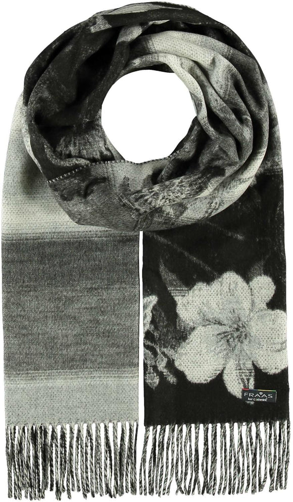 Garden Floral Scarf Black and White