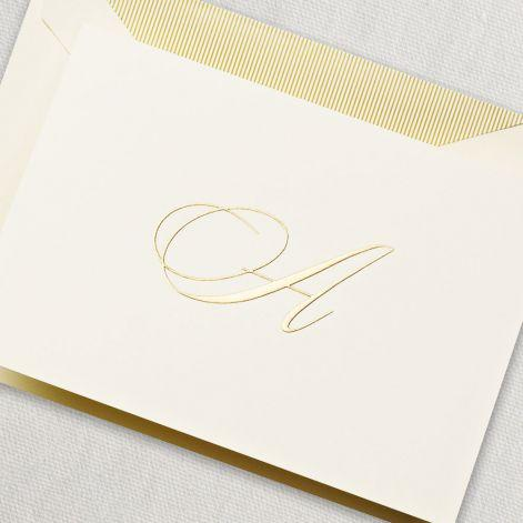 Gold Engraved Ecru Initial Boxed Notes (A-Z)