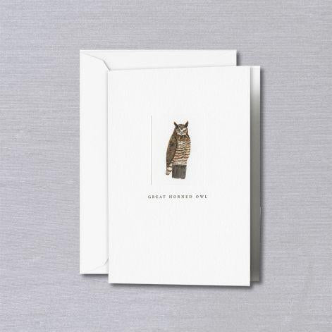 Great Horned Owl Pearl White Boxed Vertical Notes