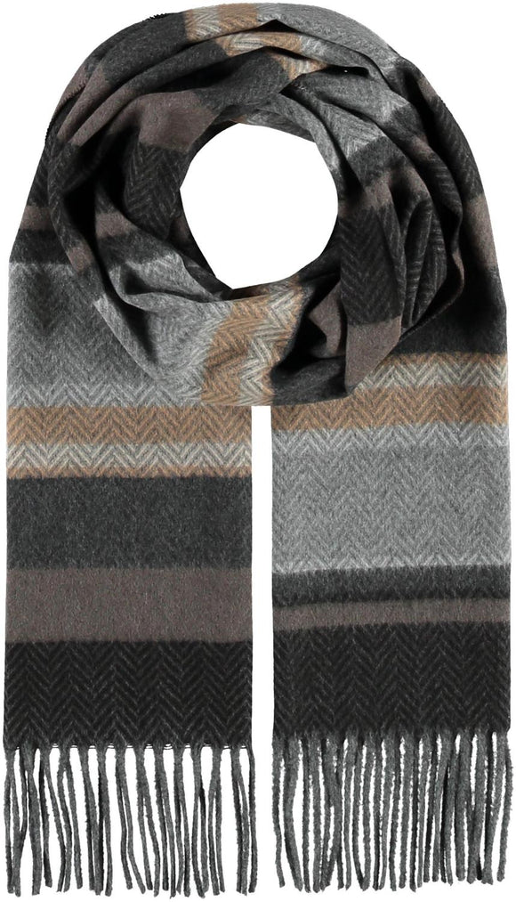 Herringbone Block Stripe Scarf Mid Gray