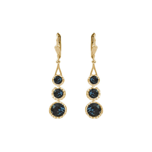 La Vie Parisienne by Catherine Popesco 3 Stone Gold Drop Earring Midnight Blue