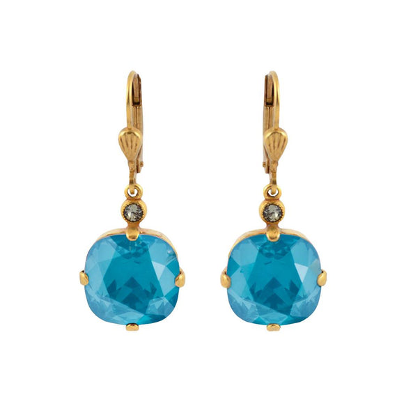 La Vie Parisienne by Catherine Popesco Cushion Cut Square Gold Drop Earring Azure