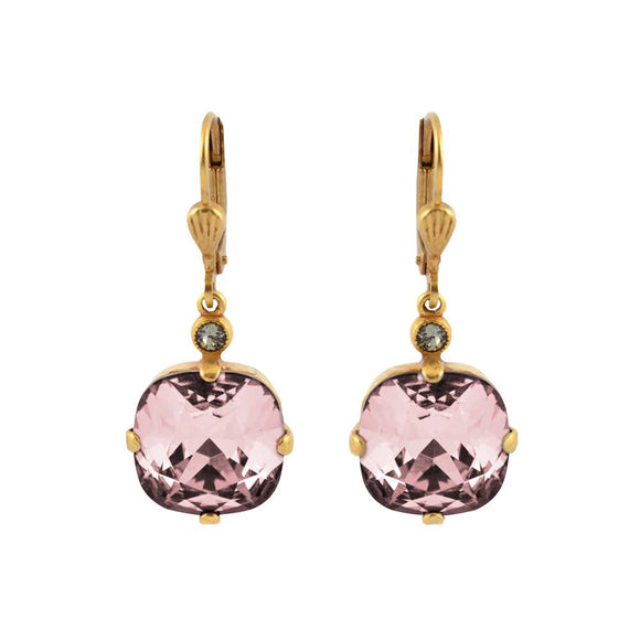 La Vie Parisienne by Catherine Popesco Cushion Cut Square Gold Drop Earring Blush Pink