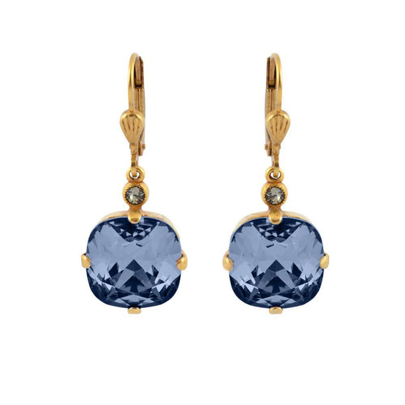 La Vie Parisienne by Catherine Popesco Cushion Cut Square Gold Drop Earring Midnight Blue