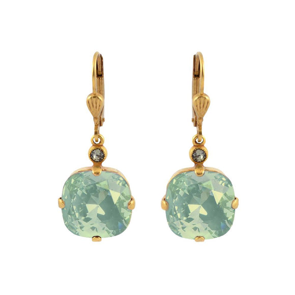 La Vie Parisienne by Catherine Popesco Cushion Cut Square Gold Drop Earring Sea Opal