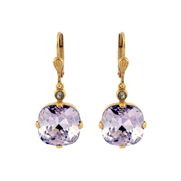 La Vie Parisienne by Catherine Popesco Cushion Cut Square Gold Drop Earring Violet