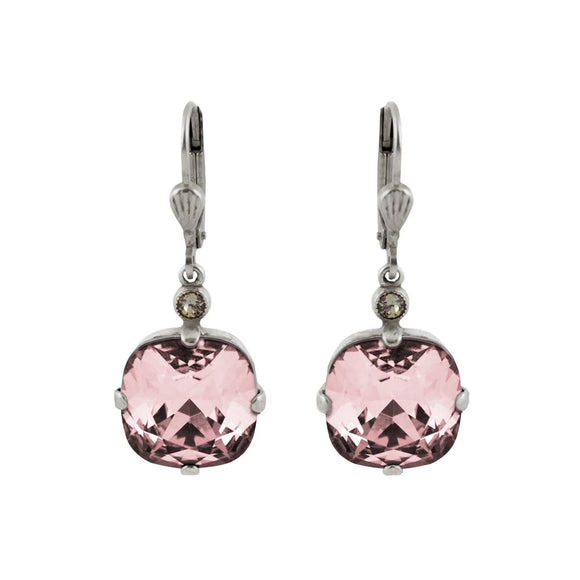 La Vie Parisienne by Catherine Popesco Cushion Cut Square Silver Drop Earring Blush Pink