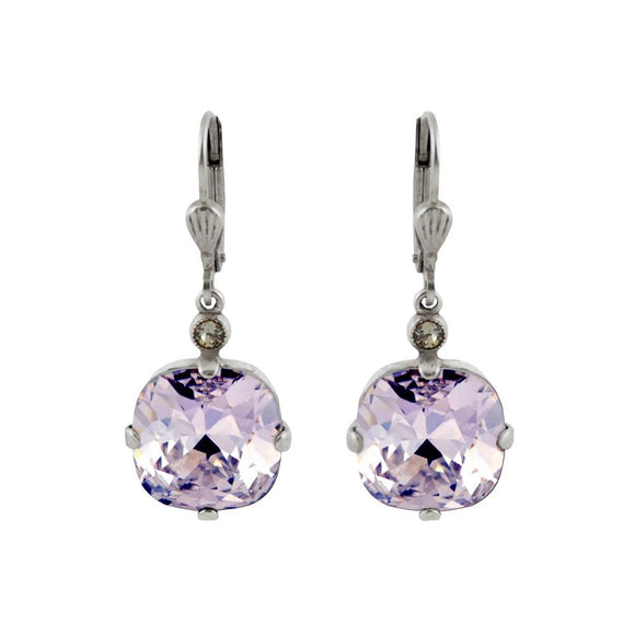 La Vie Parisienne by Catherine Popesco Cushion Cut Square Silver Drop Earring Violet