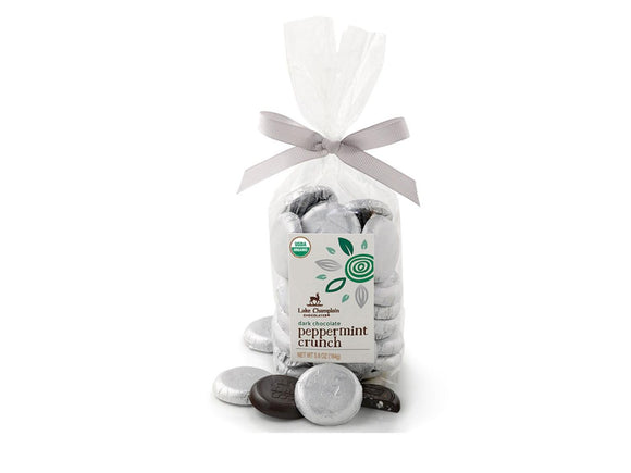 Lake Champlain Chocolates Dark Chocolate Peppermint Crunch Organic Coins Bag