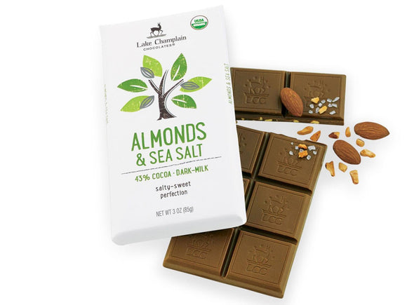Lake Champlain Chocolates Milk Chocolate Almonds & Sea Salt Bar