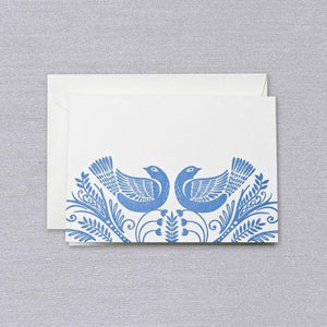 Letterpressed Blue Birds Pearl White Lettra® Boxed Notes
