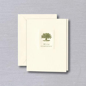 Crane Paper Letterpressed Oak Tree Ecru Symapathy Card