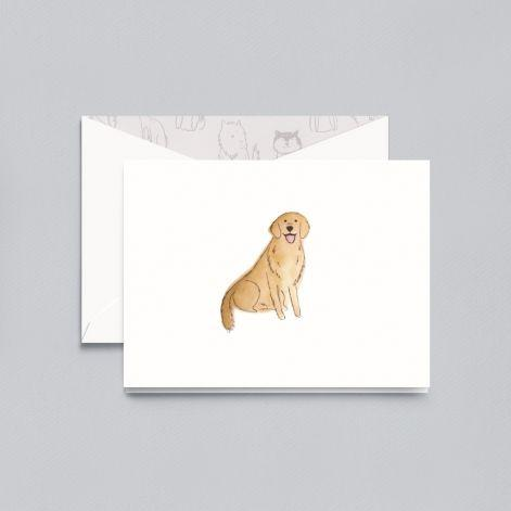 Lithographed Golden Retriever Pearl White Boxed Notes