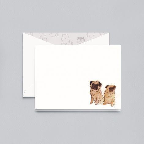 Lithographed Pug Pearl White Boxed Notes