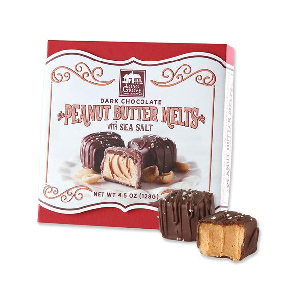 Long Grove Confectionery Dark Chocolate Peanut Butter Melts with Sea Salt