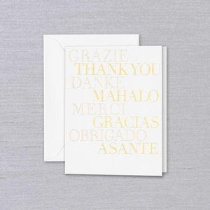 Crane Paper Multilingual Pearl White Thank You Greeting Card