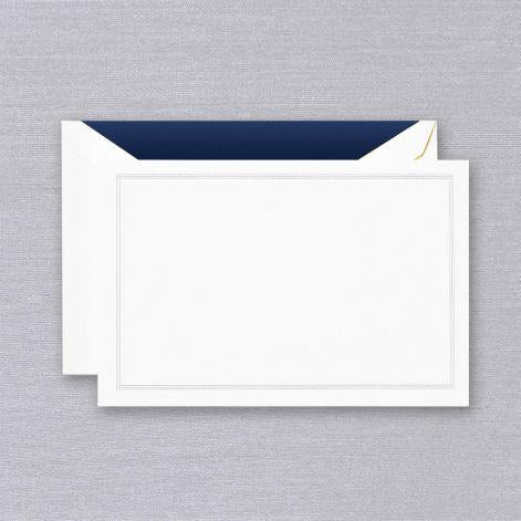 Navy Blue Triple Hairline Framed Pearl White Boxed Cards
