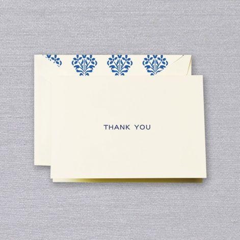 Navy Thank You Ecru Boxed Notes with Damask Envelope Liner