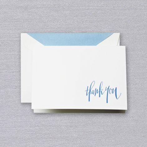 Newport Blue Engraved Thank You Pearl White Boxed Notes