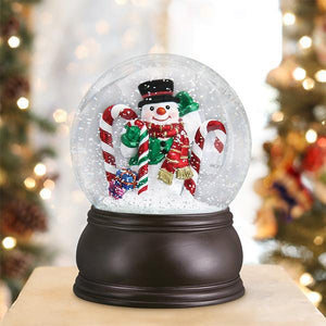 Old World Christmas Snow Globe Candy Cane Snowman