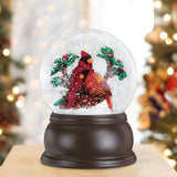 Old World Christmas Snow Globe Pair Of Cardinals