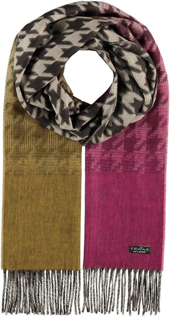 Ombre Houndstooth Scarf Pink