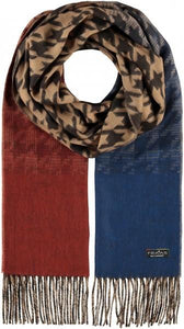 Ombre Houndstooth Scarf Royal Blue