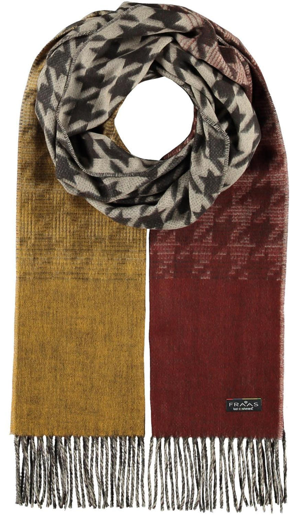 Ombre Houndstooth Scarf Rust