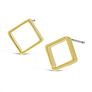 Open Diamond Stud Earring Gold