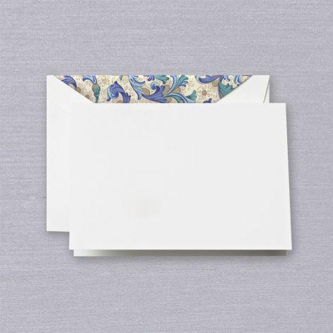 Pearl White Boxed Notes with Blue Florentine Envelope Liner