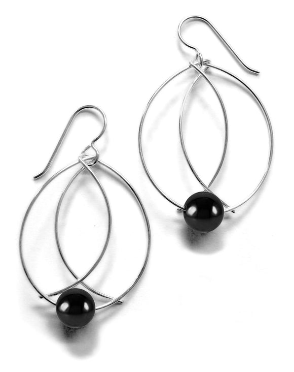 Perfect Size Silver Hematite Earrings