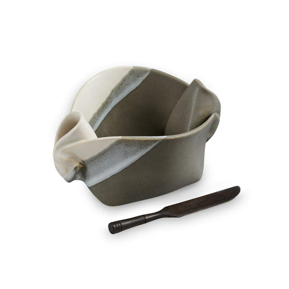 Pinch Pot Gray White Stripe
